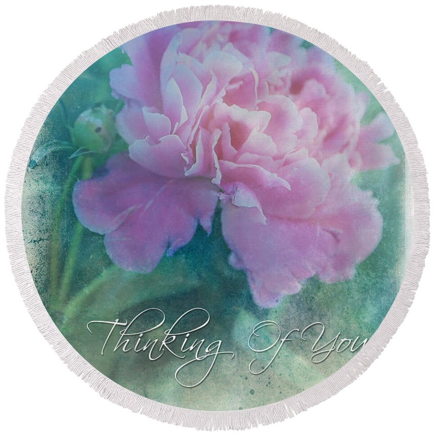 Flower Round Beach Towel featuring the photograph Thinking Of You by Theresa Campbell
