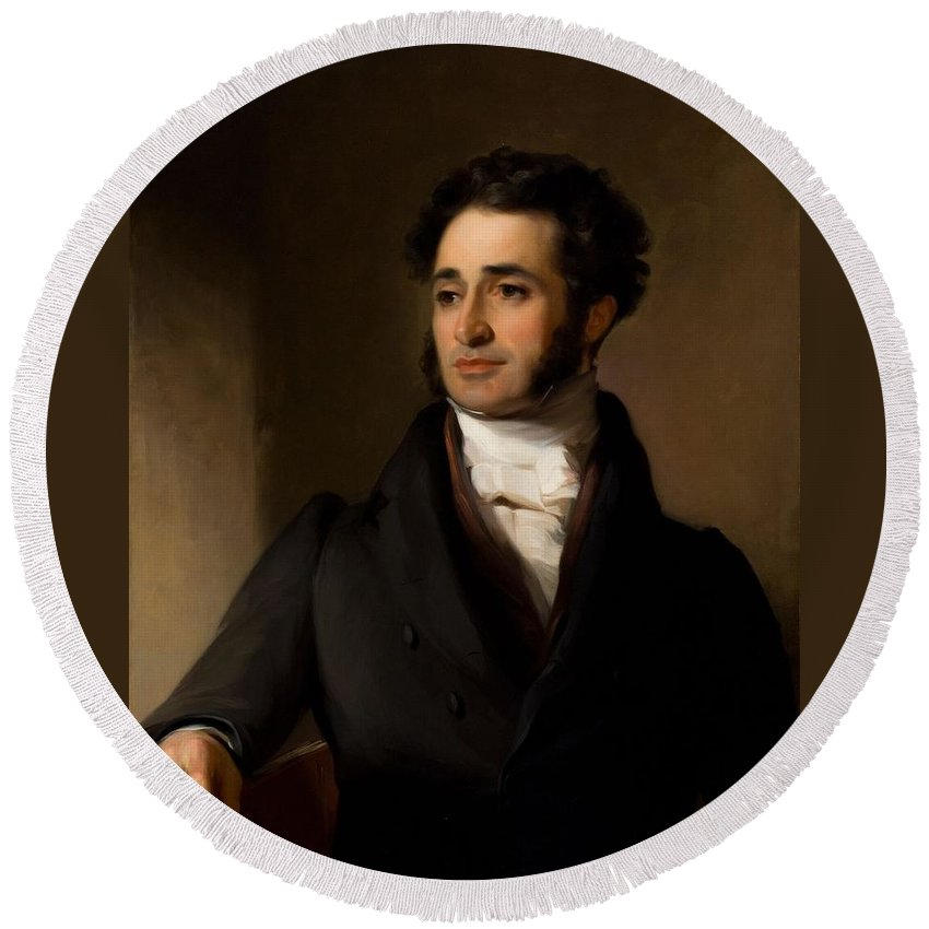Jared Sparks Round Beach Towel featuring the painting Thomas Sully by MotionAge Designs