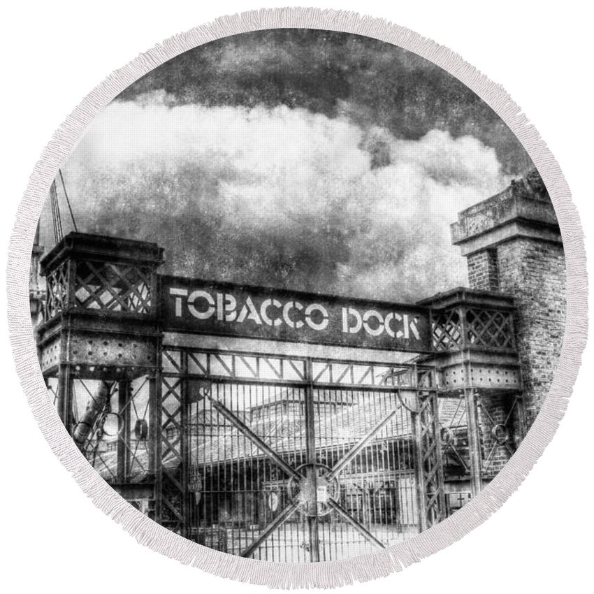 Tobacco Dock Round Beach Towel featuring the photograph Tobaco Dock London Vintage by David Pyatt