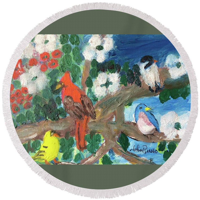 Fine Art Round Beach Towel featuring the painting Togetherness by John Russo