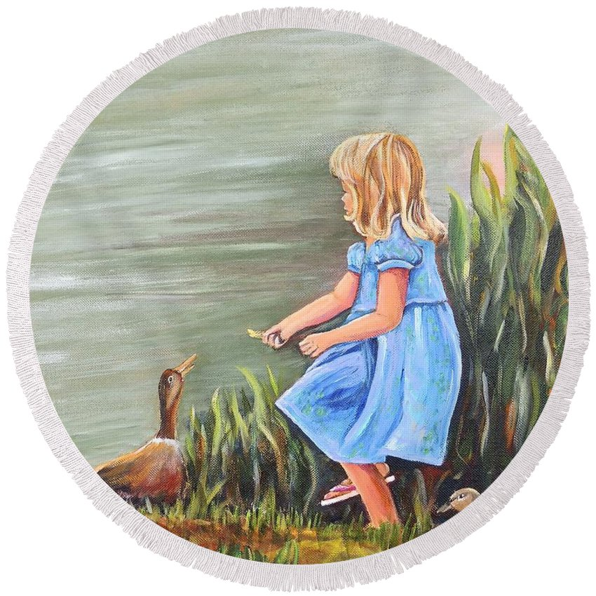 Ducks Round Beach Towel featuring the painting Tori And Her Ducks by Patricia Piffath
