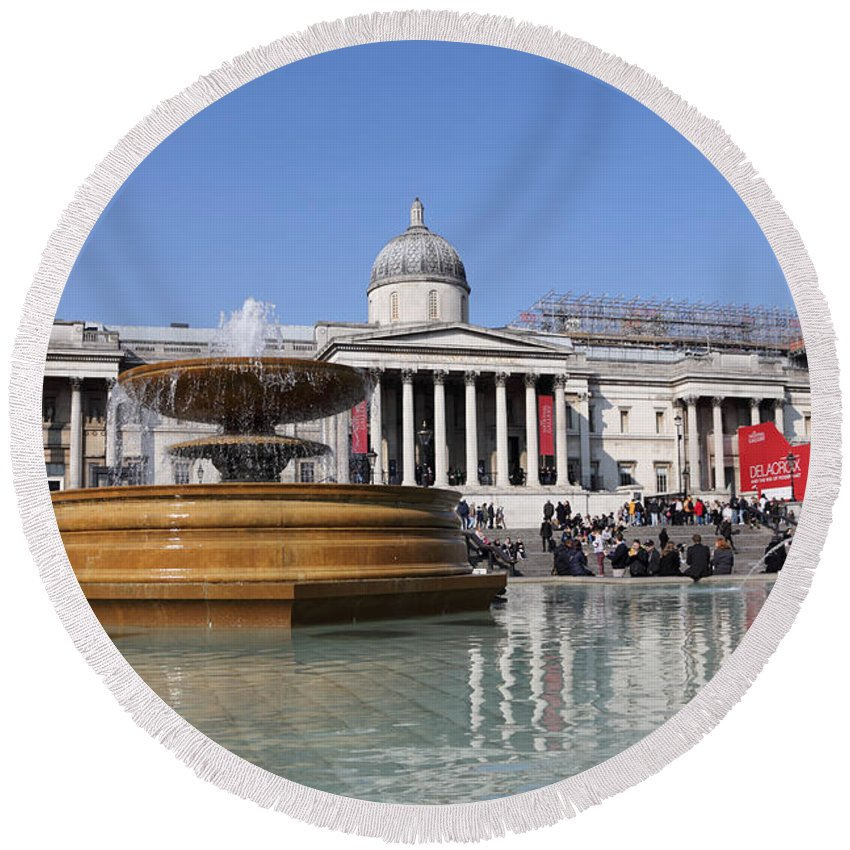 Trafalgar Square London Round Beach Towel featuring the photograph Trafalgar Square London by Julia Gavin
