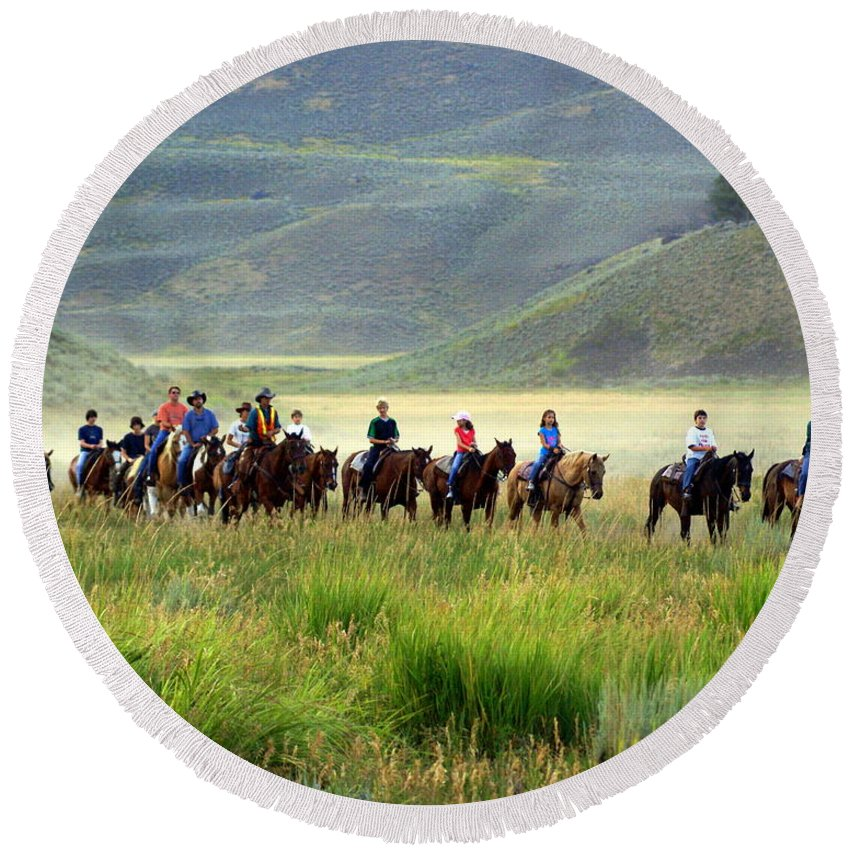 Trail Ride Round Beach Towel featuring the photograph Trail Ride by Marty Koch