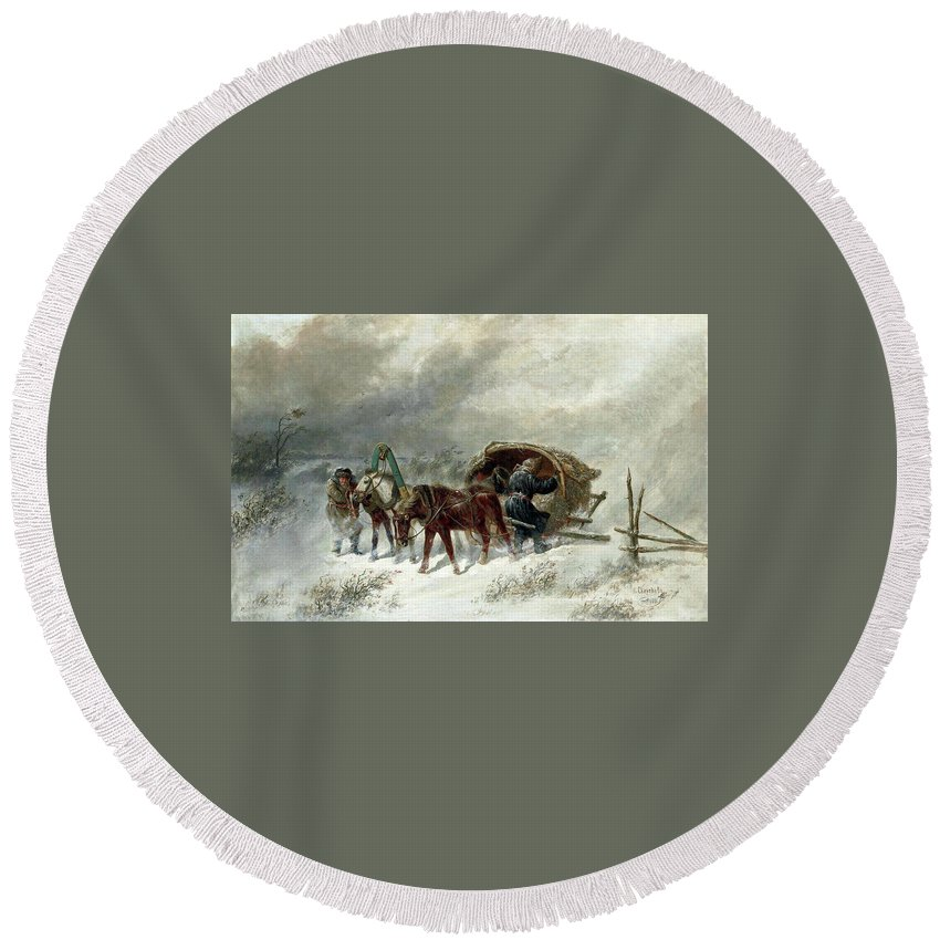Nikolai Yegorovich Sverchkov (1817-1898)-'a Troika In A Blizzard'-1881 Round Beach Towel featuring the painting Troika In A Blizzard by MotionAge Designs