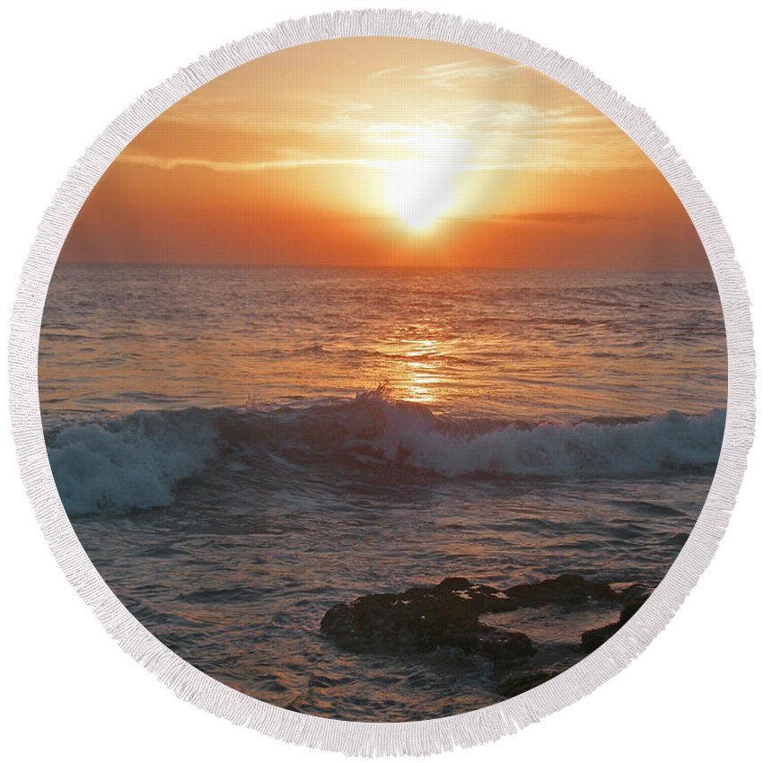 Bali Round Beach Towel featuring the photograph Tropical Bali Sunset by Mark Sellers