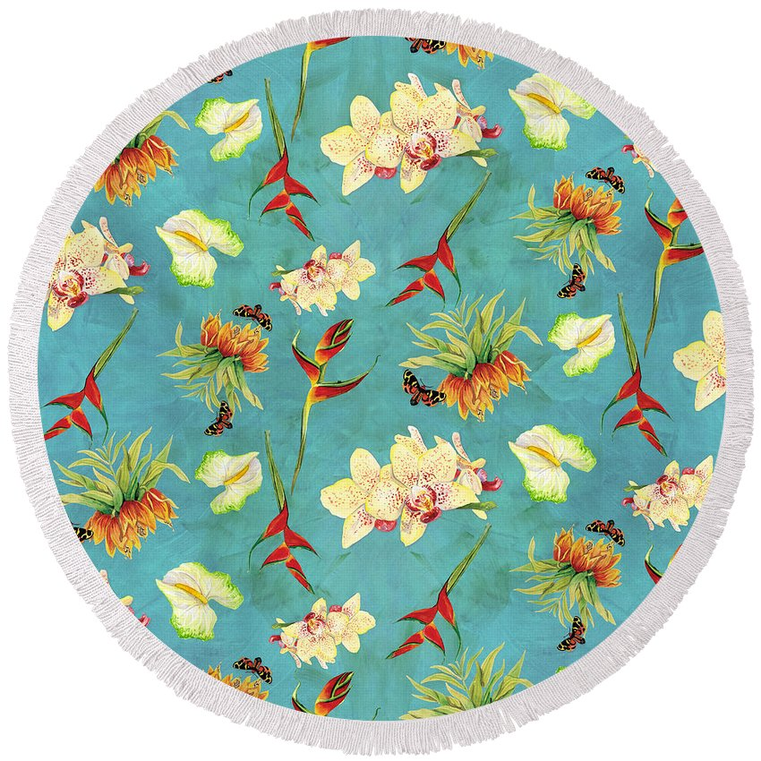 Orchids Round Beach Towels