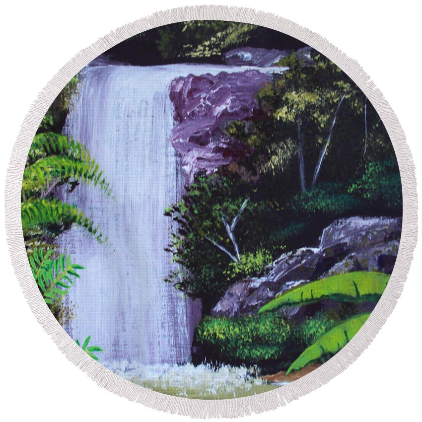 Tropical Round Beach Towel featuring the painting Tropical Waterfall by Luis F Rodriguez