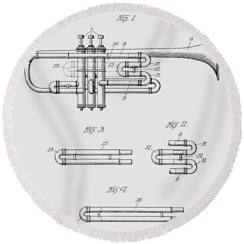 Trumpet Round Beach Towel featuring the photograph Trumpet Patent From 1919 by Chris Smith