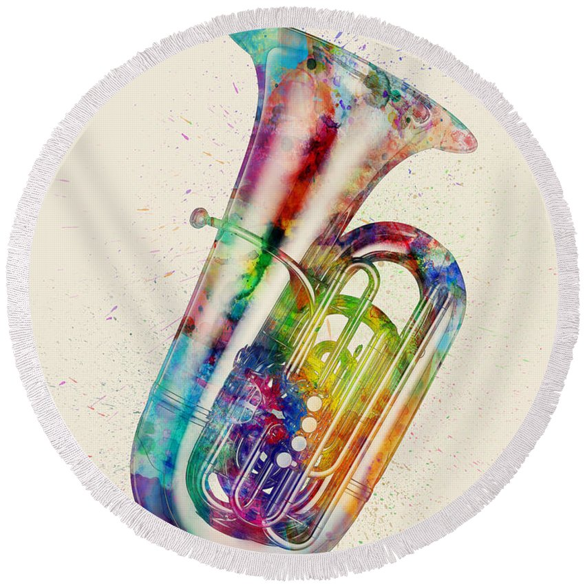 Tuba Round Beach Towel featuring the digital art Tuba Abstract Watercolor by Michael Tompsett