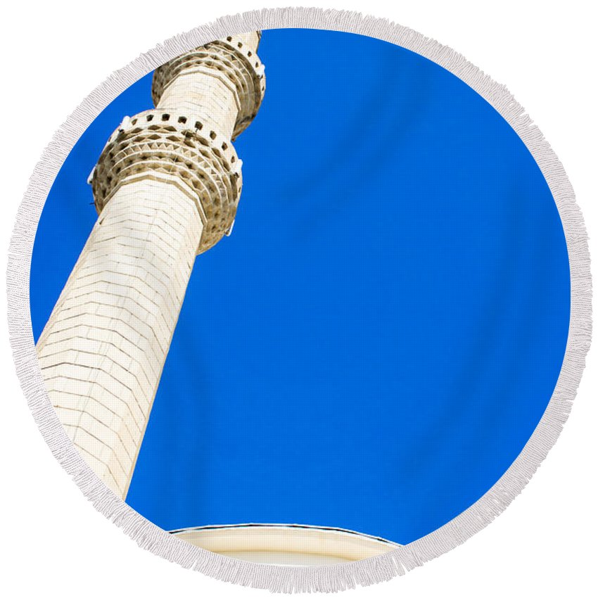 Adhan Round Beach Towel featuring the photograph Turkish Mosque by Tom Gowanlock
