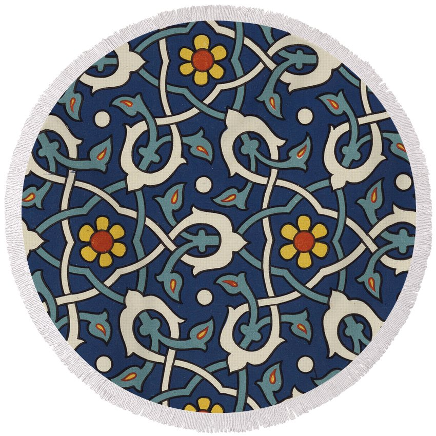 Ornament Round Beach Towel featuring the drawing Turkish Textile Pattern by Turkish School