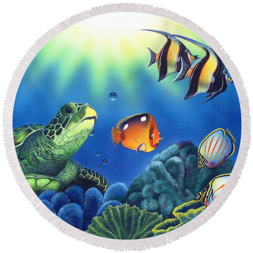 Turtle Round Beach Towel featuring the painting Turtle Dreams by Angie Hamlin