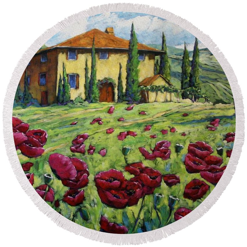 Art Round Beach Towel featuring the painting Tuscan Poppies by Richard T Pranke