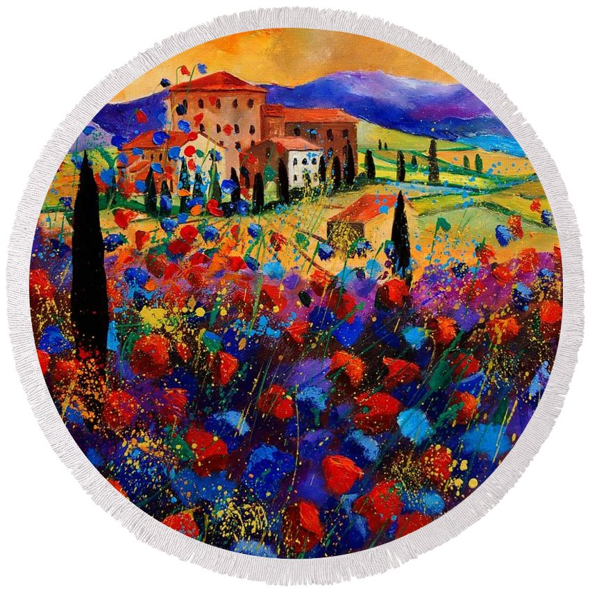 Flowers Round Beach Towel featuring the painting Tuscany Poppies by Pol Ledent