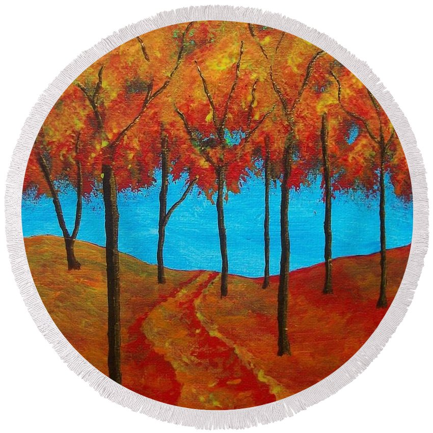 Art & Collectibles Painting Forest Path Twilight Forest Sunset Woods Rolling Hill Monochrome Painting Ooak One Of A Kind Wooded Trail Shiny Artwork Hiking Art Nature Painting Red Yellow Orange Brown Blue Painting Round Beach Towel featuring the painting Twilight Woods by Mike Kraus