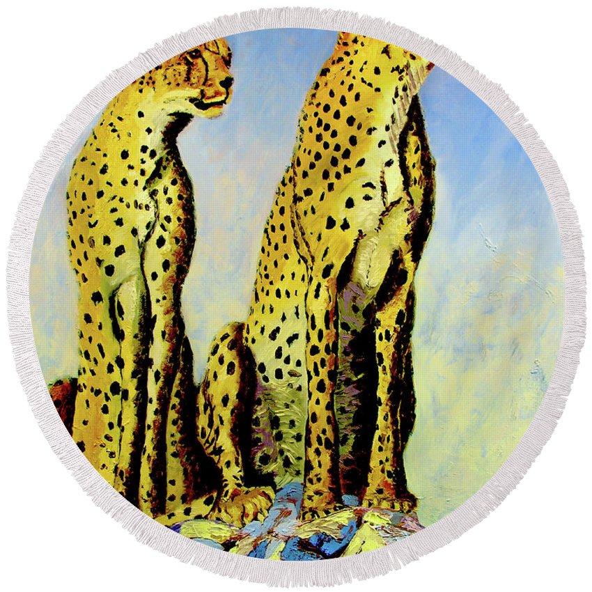 Cheetahs Round Beach Towel featuring the painting Two Cheetahs by Stan Hamilton