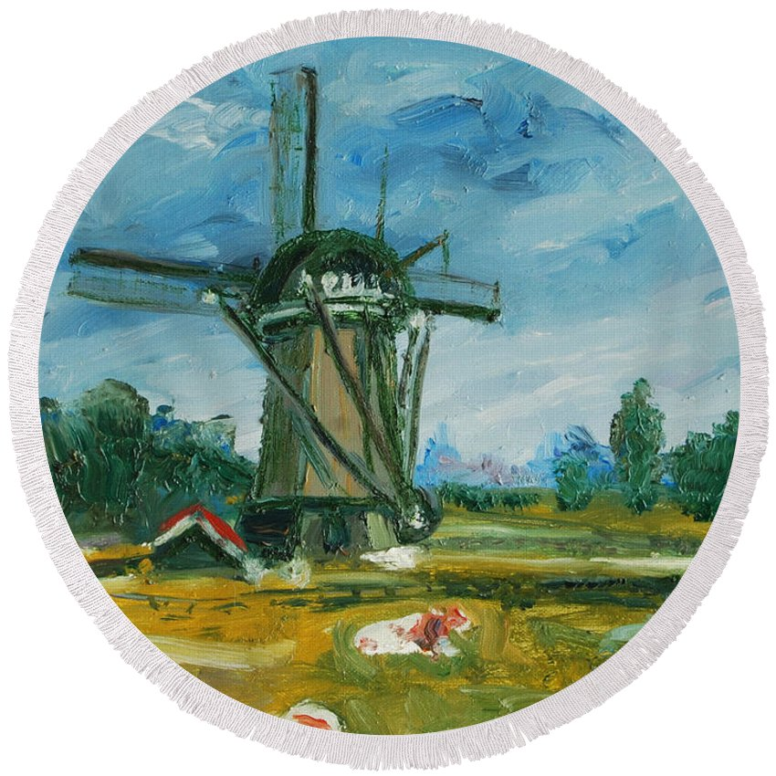 Farm Round Beach Towel featuring the painting Two Cows by Rick Nederlof