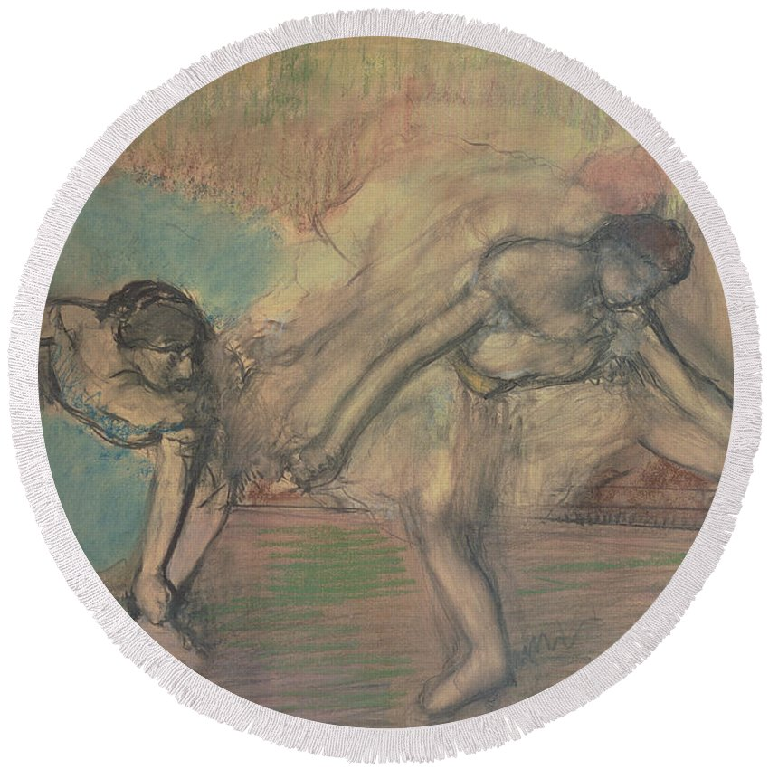 2 Round Beach Towel featuring the pastel Two Dancers Resting by Edgar Degas