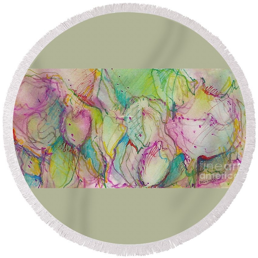 Abstract Round Beach Towel featuring the painting Two Lips by Jan Bennicoff
