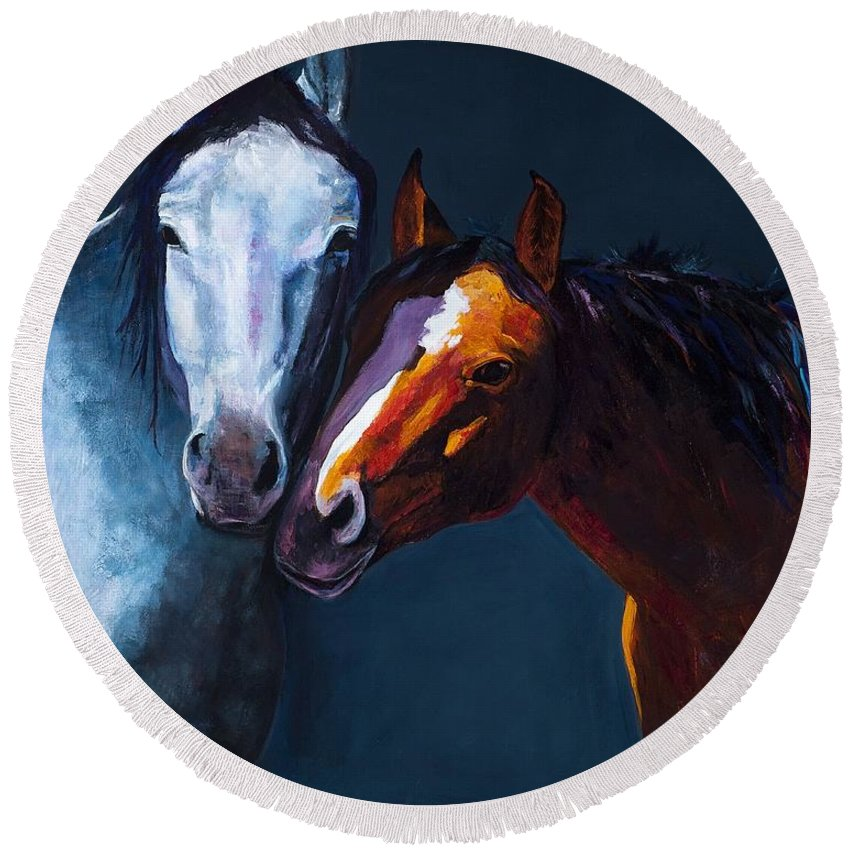 Horses Round Beach Towel featuring the painting Unbridled Love by Frances Marino