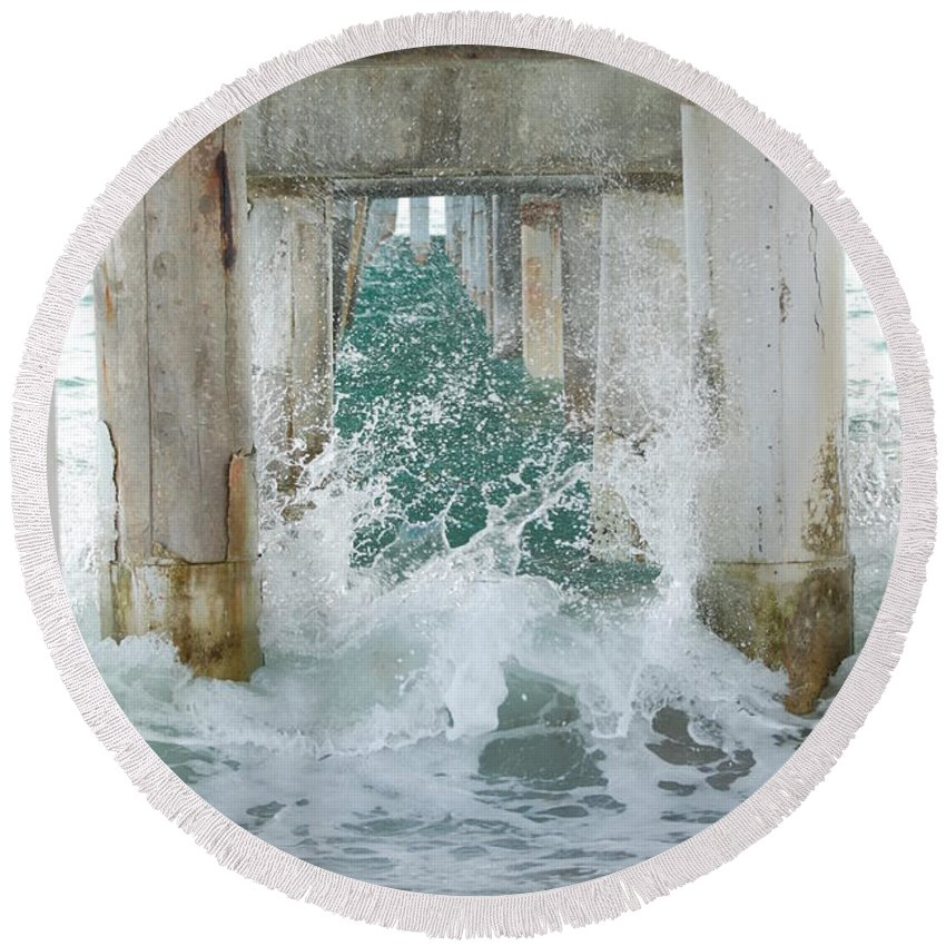 Ocean Round Beach Towel featuring the photograph Under The Boardwalk by Rob Hans