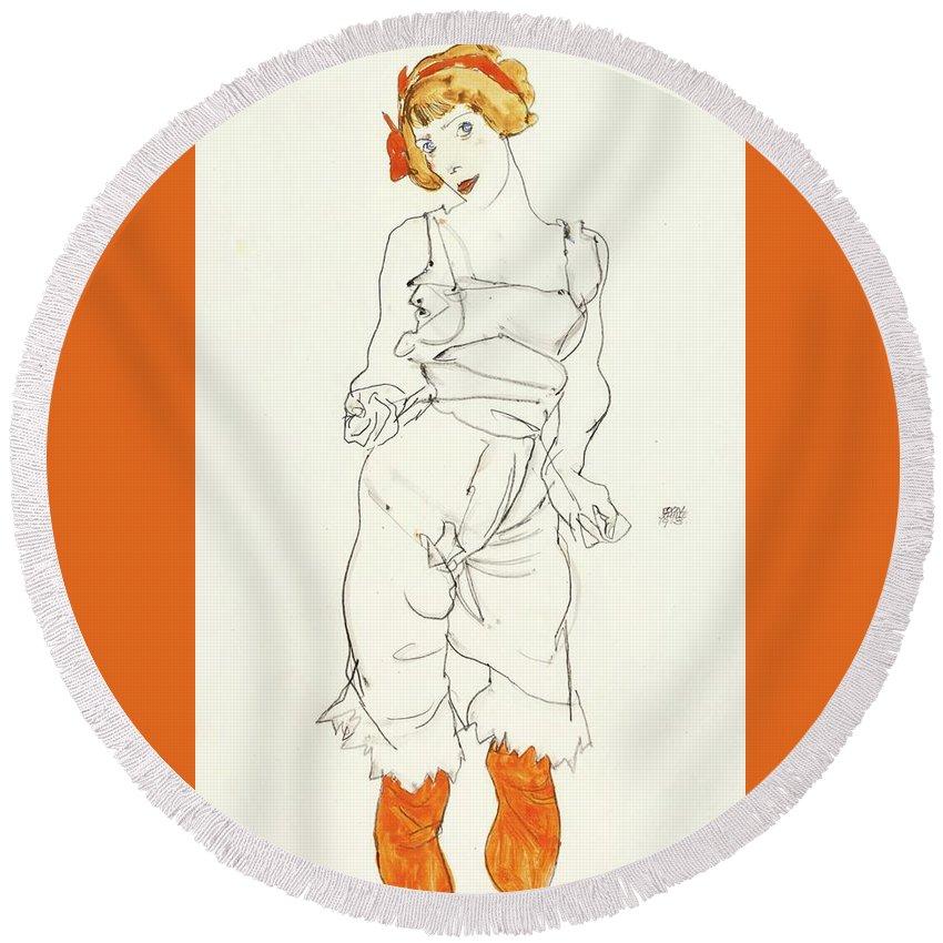 Egon Schiele 1890 - 1918 Frau In UnterwÄsche Und StrÜmpfen (valerie Neuzil) (woman In Underclothes And Stockings) Round Beach Towel featuring the painting Underclothes And Stockings by MotionAge Designs