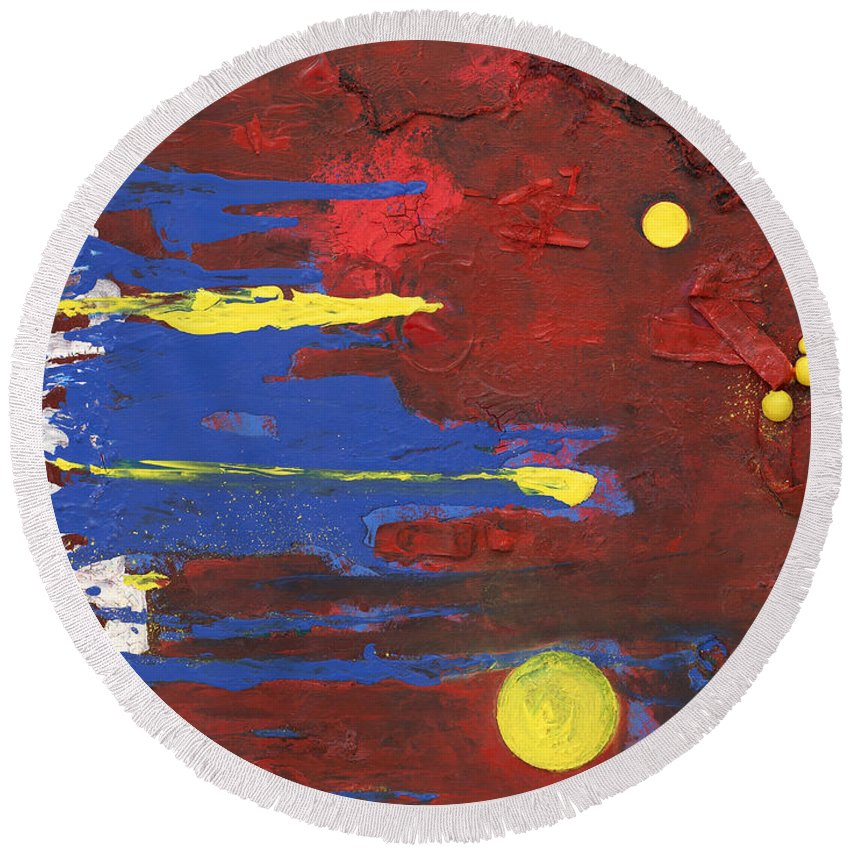 Red Round Beach Towel featuring the mixed media Untitled by Jaime Becker