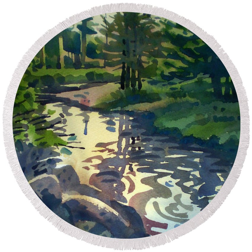 Stream Round Beach Towel featuring the painting Up With The Fishes by Donald Maier