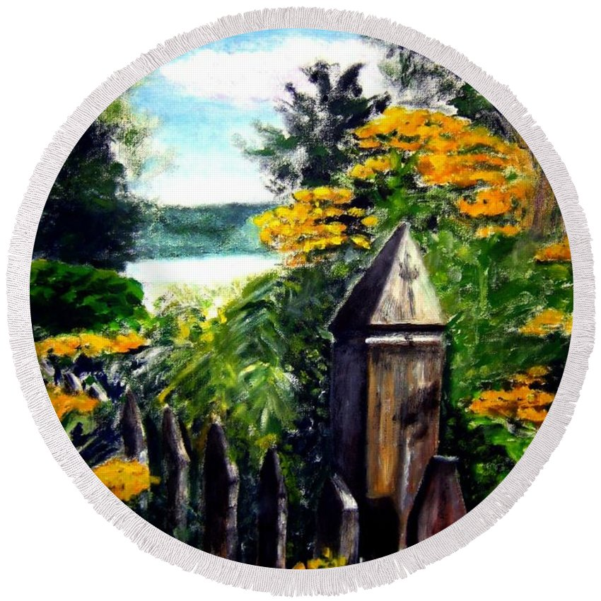 Upstate New York Round Beach Towel featuring the painting Upstate Winery by Sandy Ryan