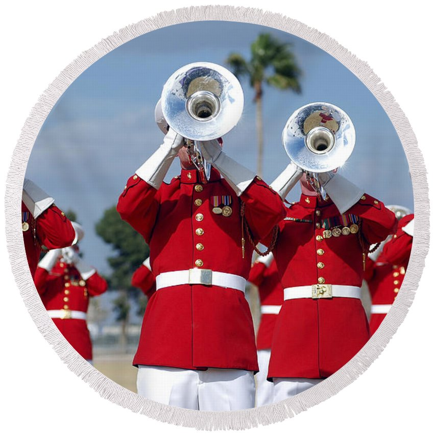 Drum And Bugle Corps Round Beach Towel featuring the photograph U.s. Marine Corps Drum And Bugle Corps by Stocktrek Images
