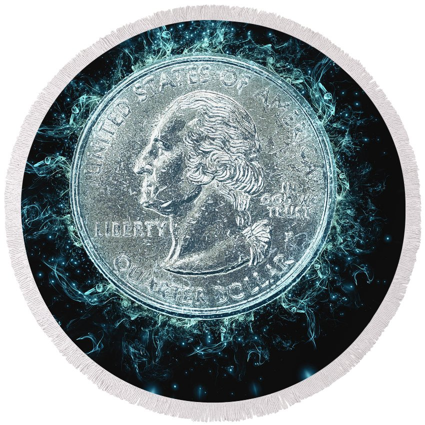 Digitally Round Beach Towel featuring the photograph Us One Quarter Dollar Coin 25 Cents by Humorous Quotes