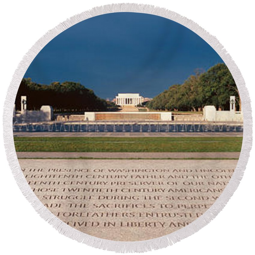 Photography Round Beach Towel featuring the photograph U.s. World War II Memorial by Panoramic Images