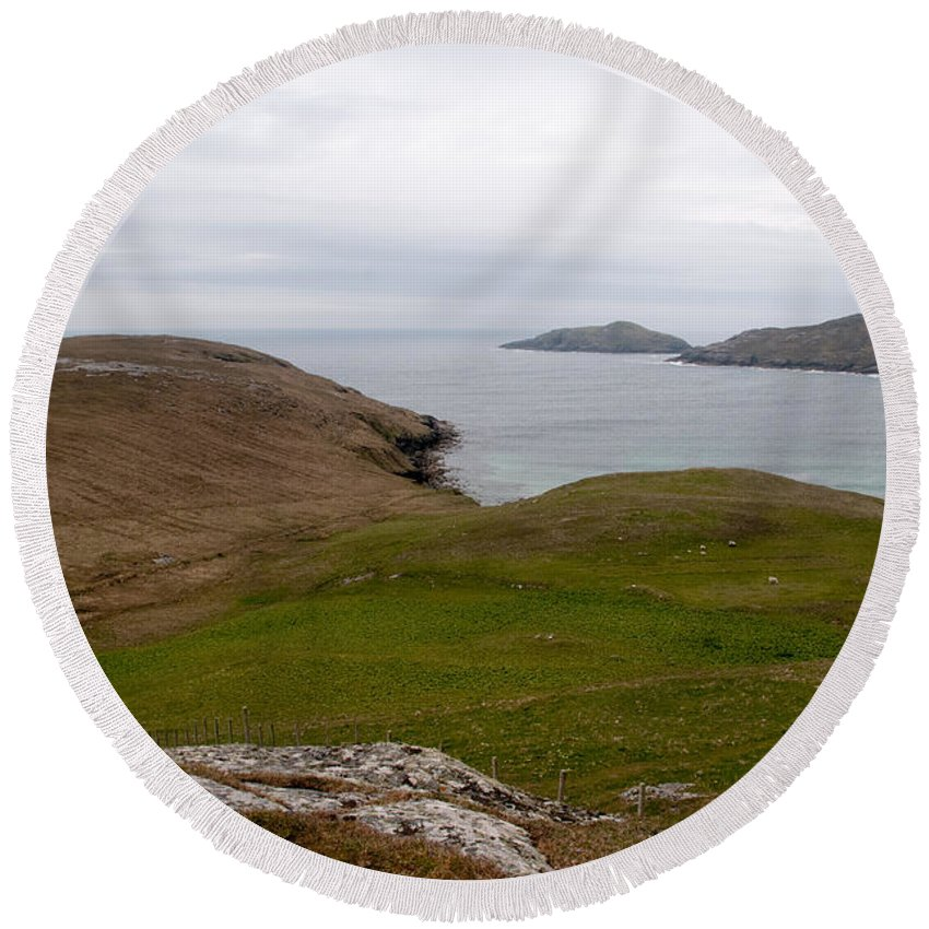 Outer Hebrides Round Beach Towel featuring the photograph Vatersay Bay by Smart Aviation