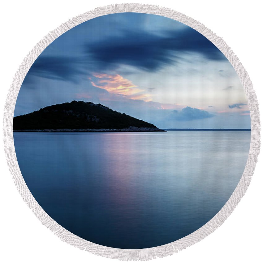 Losinj Round Beach Towel featuring the photograph Veli Osir Island At Dawn, Losinj Island, Croatia. by Ian Middleton
