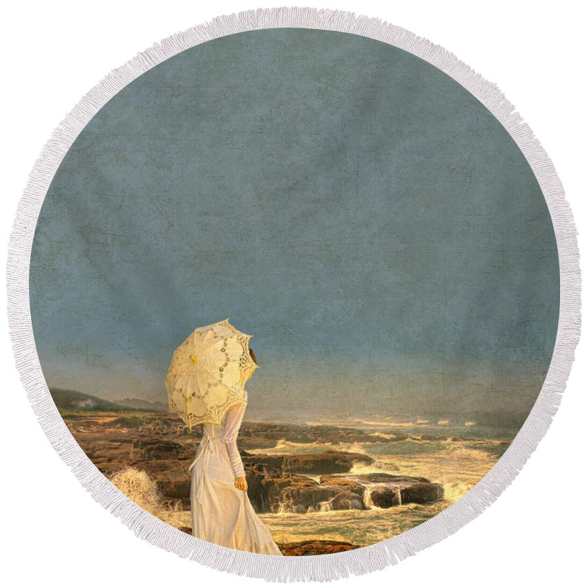 Walking Round Beach Towel featuring the photograph Victorian Lady By The Sea by Jill Battaglia