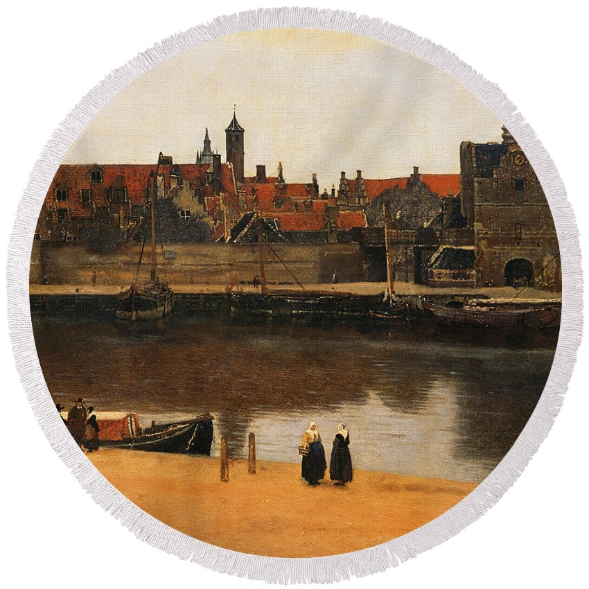 View Of Delft Round Beach Towel featuring the painting View Of Delft by Jan Vermeer