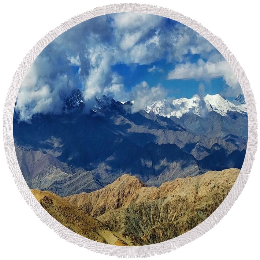Ice Peak Round Beach Towel featuring the photograph View Of Snow Peaks Leh Ladakh Jammu And Kashmir India by Rudra Narayan Mitra