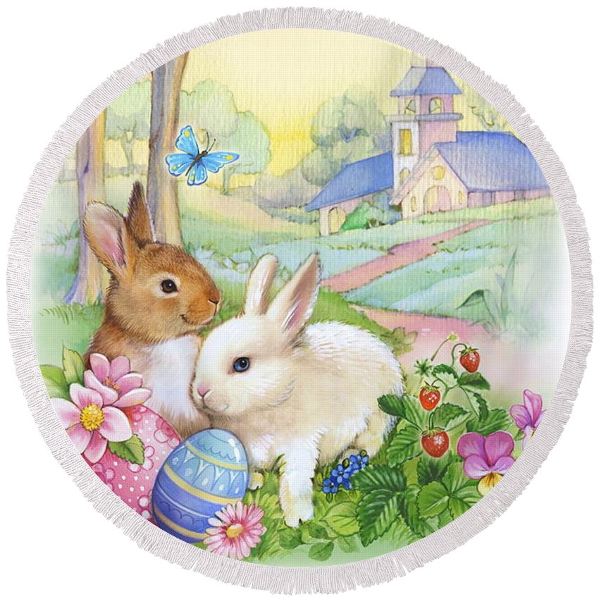 Vintage Round Beach Towel featuring the photograph Vintage Easter Bunnies by Patrick Hoenderkamp