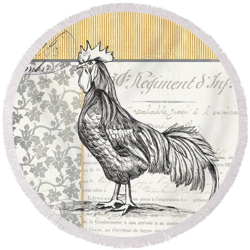 Rooster Round Beach Towel featuring the painting Vintage Farm 1 by Debbie DeWitt