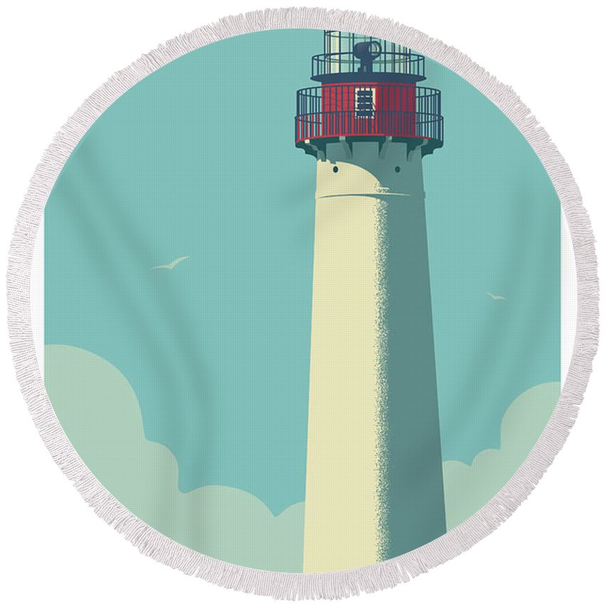 Cape May Round Beach Towel featuring the digital art Cape May Poster - Vintage Travel Lighthouse by Jim Zahniser