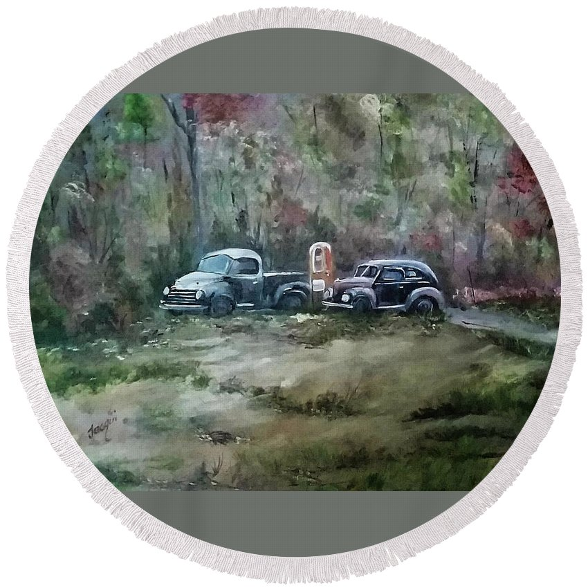 Studebaker Round Beach Towel featuring the painting Vintage Vehicles by Jacqueline Whitcomb