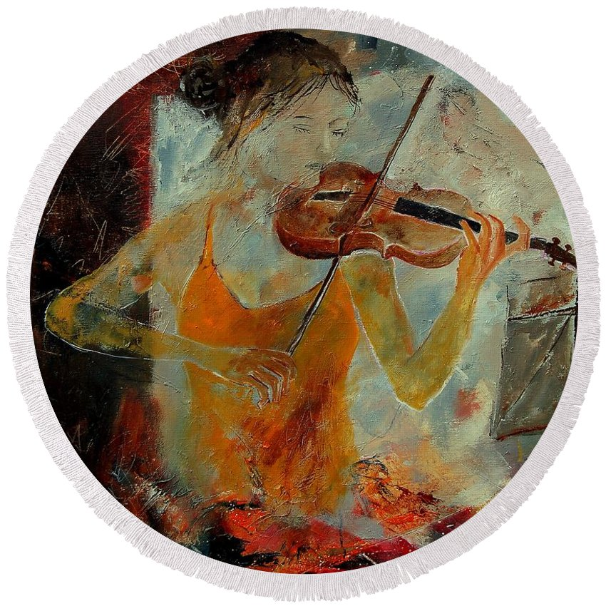 Music Round Beach Towel featuring the painting Violinist 67 by Pol Ledent