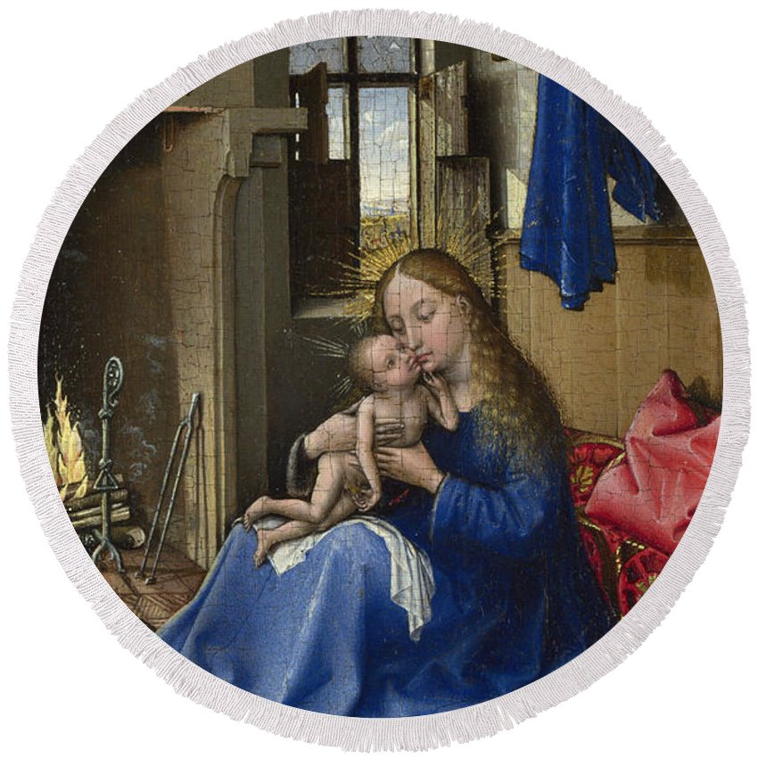 Blessed Virgin Mary Round Beach Towel featuring the painting Virgin And Child In An Interior by Robert Campin
