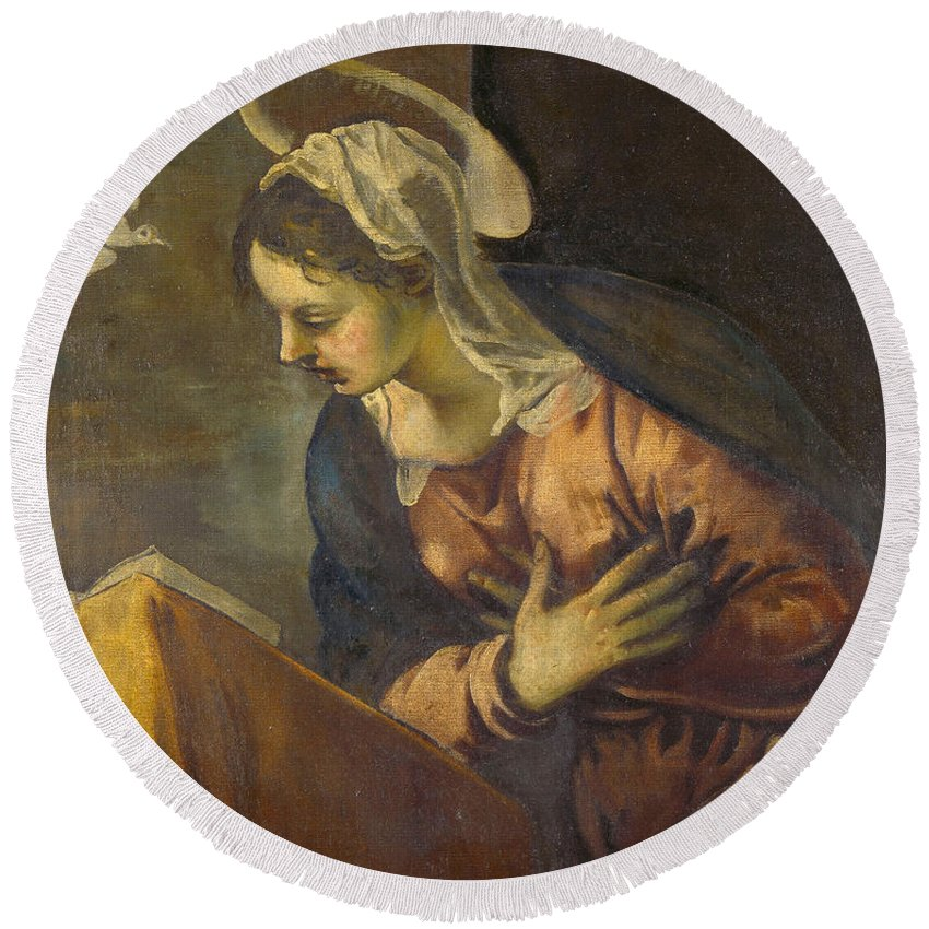 Angel Round Beach Towel featuring the painting Virgin From The Annunciation To The Virgin by Tintoretto