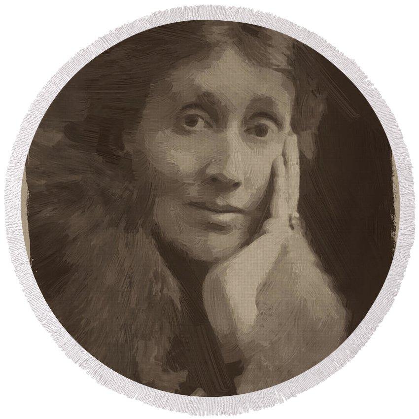 Virginia Woolf Round Beach Towel featuring the digital art Virginia Woolf by Afterdarkness