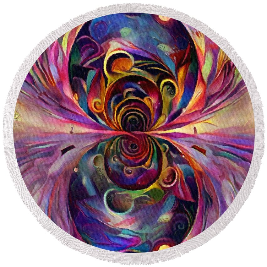 Multicolored Round Beach Towel featuring the digital art Vivid Fractal by Bruce Rolff