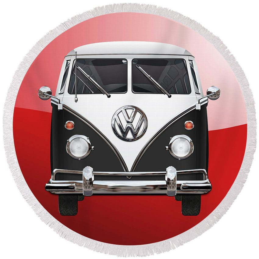 'volkswagen Type 2' Collection By Serge Averbukh Round Beach Towel featuring the photograph Volkswagen Type 2 - Black and White Volkswagen T 1 Samba Bus on Red by Serge Averbukh
