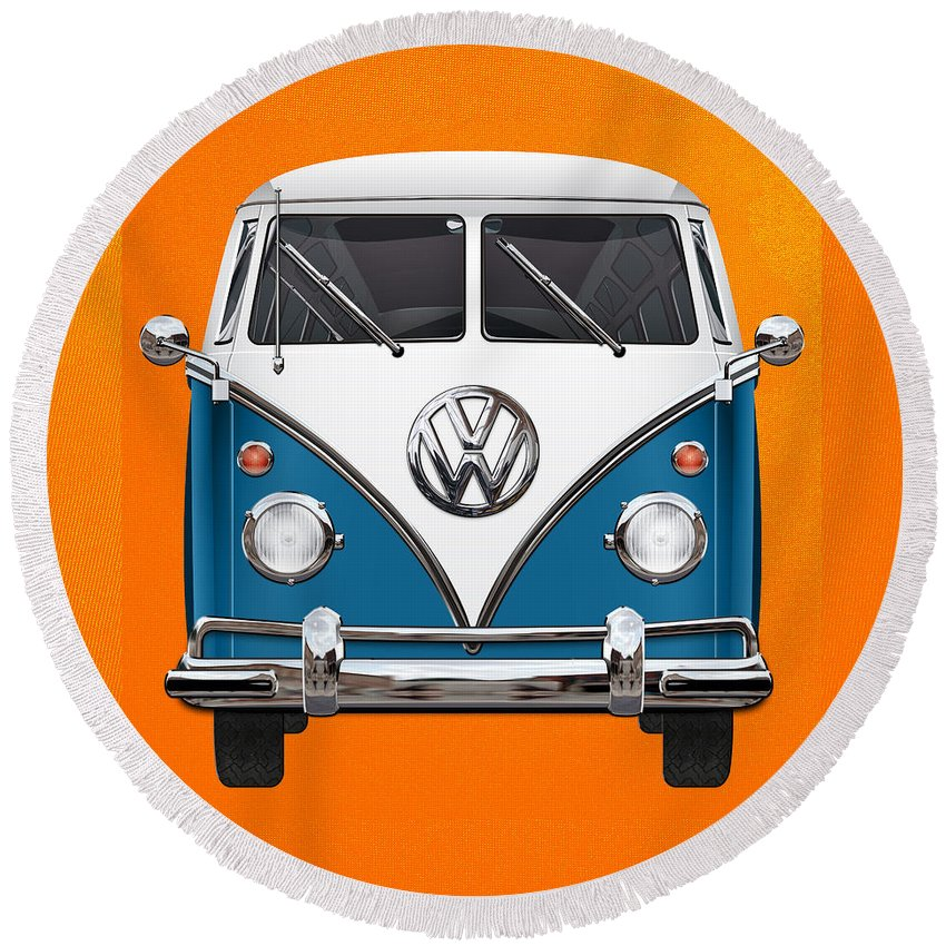 'volkswagen Type 2' Collection By Serge Averbukh Round Beach Towel featuring the photograph Volkswagen Type 2 - Blue and White Volkswagen T 1 Samba Bus over Orange Canvas by Serge Averbukh