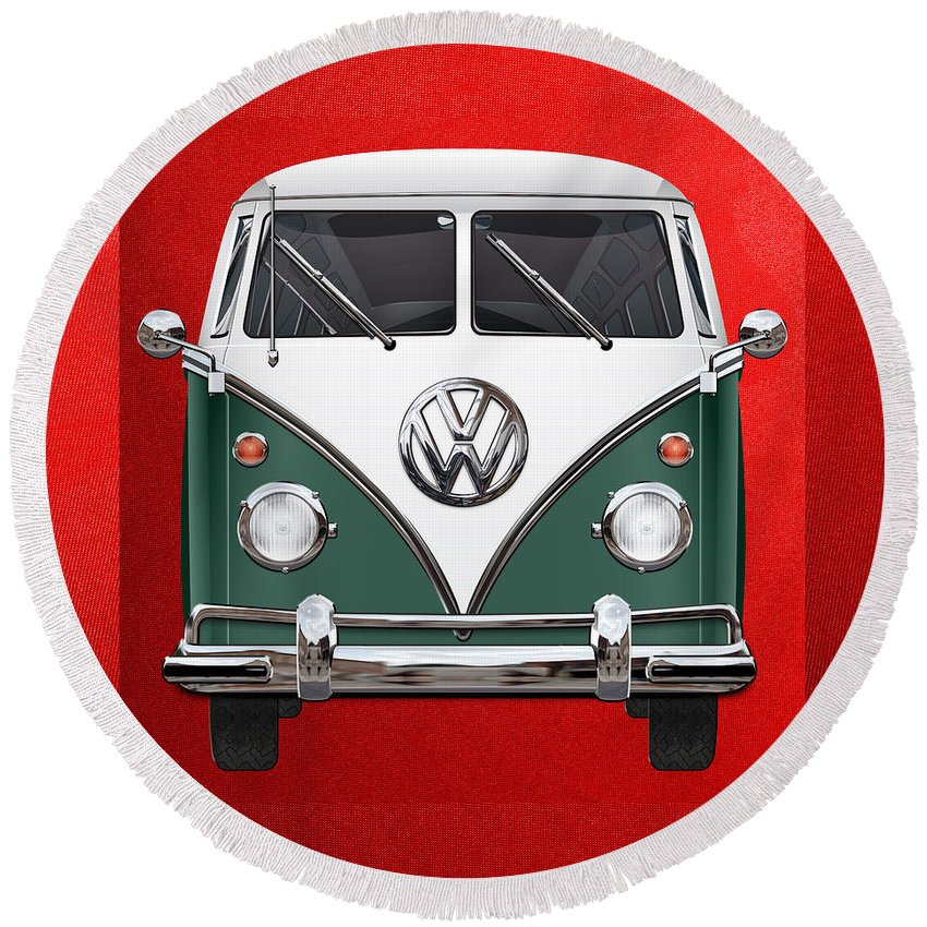 'volkswagen Type 2' Collection By Serge Averbukh Round Beach Towel featuring the photograph Volkswagen Type 2 - Green And White Volkswagen T 1 Samba Bus Over Red Canvas by Serge Averbukh