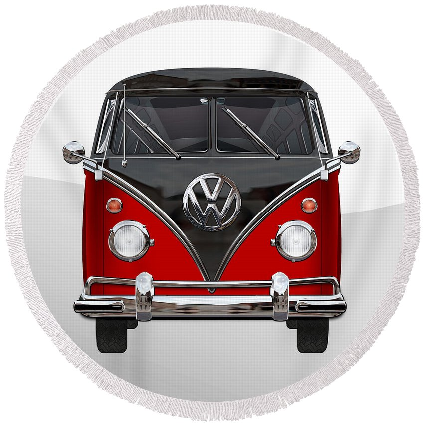 'volkswagen Type 2' Collection By Serge Averbukh Round Beach Towel featuring the photograph Volkswagen Type 2 - Red and Black Volkswagen T 1 Samba Bus on White by Serge Averbukh